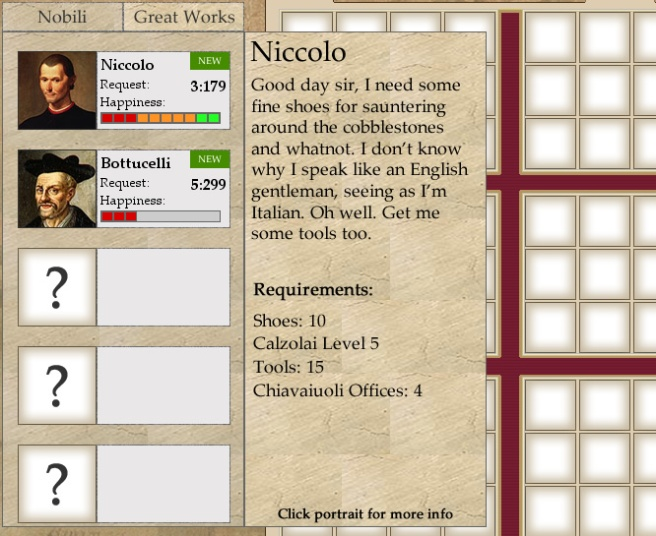 This menu will popup when the player mouses over the small noble info panel, next to their portrait.